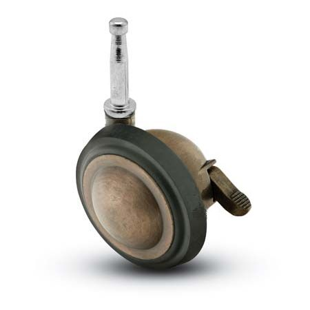 Swivel Ball Caster with Antique finish, Rubber Tread and Grip Neck connector and a Brake.