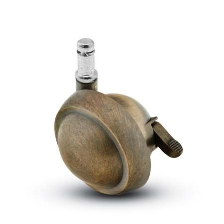 Swivel Ball Caster with an Antique finish, Rubber Tread, and Grip Ring connector and a Brake.