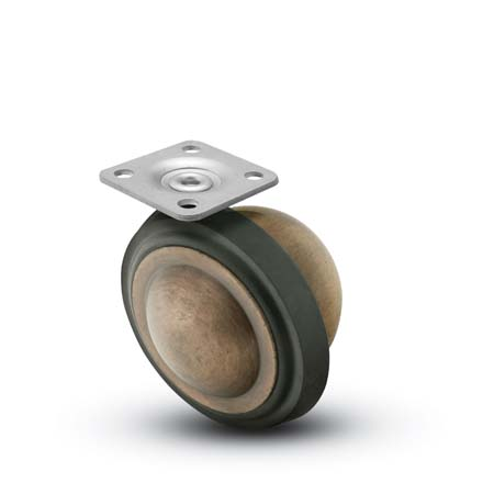 Swivel Ball Caster with an Antique finish, Rubber Tread and Top Plate connector.