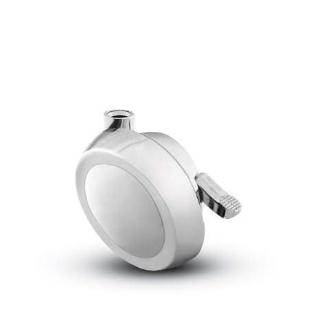 Stemless Ball Caster with a bright chrome finish and brake.