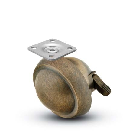 Swivel Ball Caster with a Antique finish, Top Plate connector and a Brake.