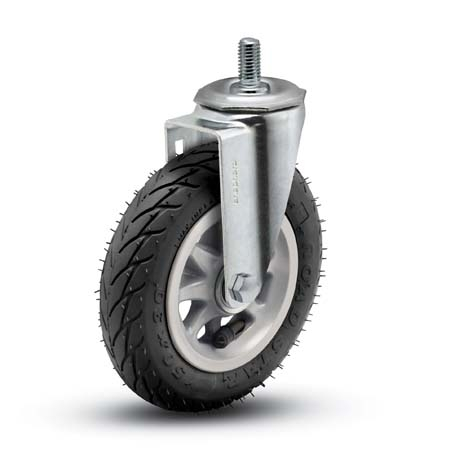Swivel Caster with a Foam-Filled Flat Free Tire (Black) wheel, Zinc finish, and Threaded Stem connec