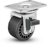 Swivel Caster with a hard black wheel, Zinc finish, Top Plate connector and a Brake.