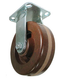 Rigid Caster with a brown, Phenolic High Temp wheel, Zinc finish, and Top Plate connector.