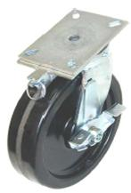 Swivel caster with a black wheek, top plate, wheel brake and position directional brake.
