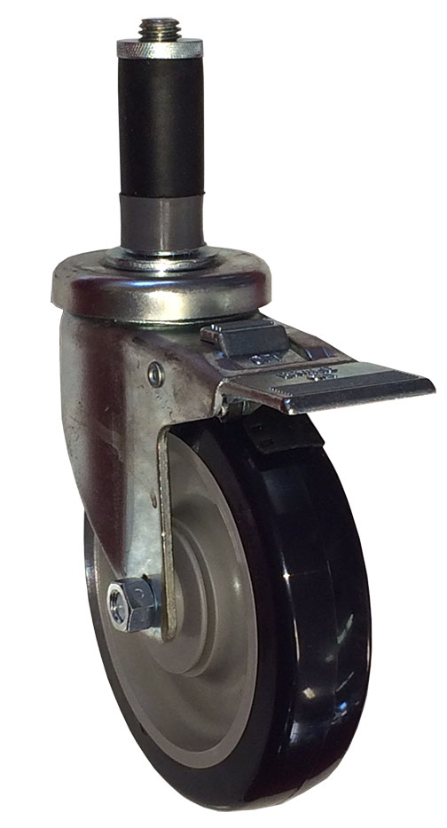 Swivel Caster with a Blue Polyurethane wheel, Zinc finish, Expandable Adapter connector and a Total