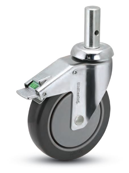 Swivel Caster with a Polyurethane on PolyO wheel, Chrome finish, and Round Stem connector.