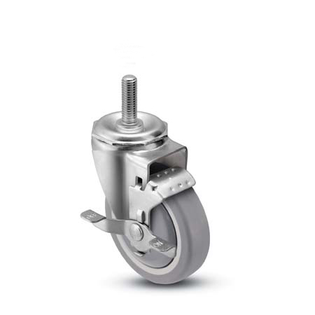 Swivel Caster with a gray PolyUrethane on PolyO wheel, Stainless finish, Threaded Stem connector and