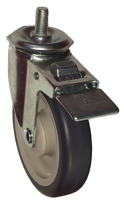 Swivel Caster with a gray Polyurethane wheel, Stainless finish, Threaded Stem connector and a Total