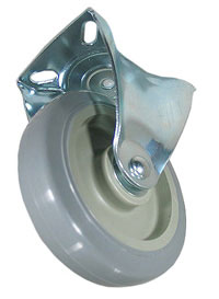 Rigid Caster with Gray PolyU on PolyO wheel.