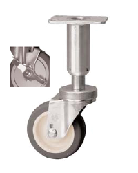 Swivel, leveling, adjustable Caster with a gray, Polyurethane wheel, Zinc finish, Top Plate connecto