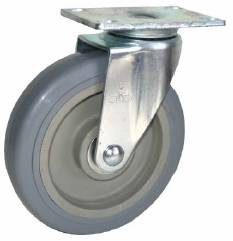 Swivel Caster with Gray wheel and connecting plate.