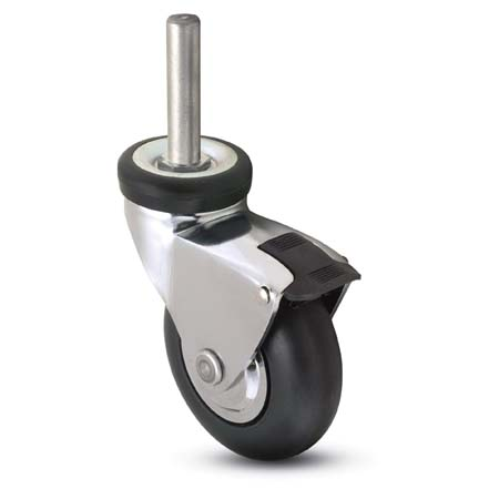 Swivel caster with a chrome finish, black wheek, stem and brake.