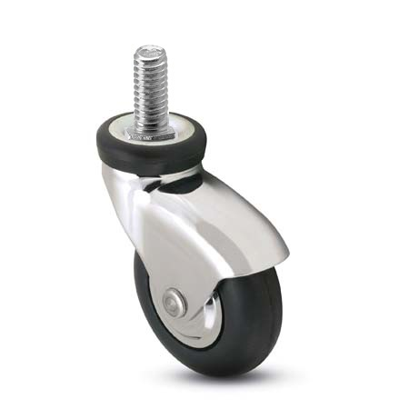 Swivel Caster with a black Rubber wheel, bright Chrome finish, Threaded Stem connector and a Hood.