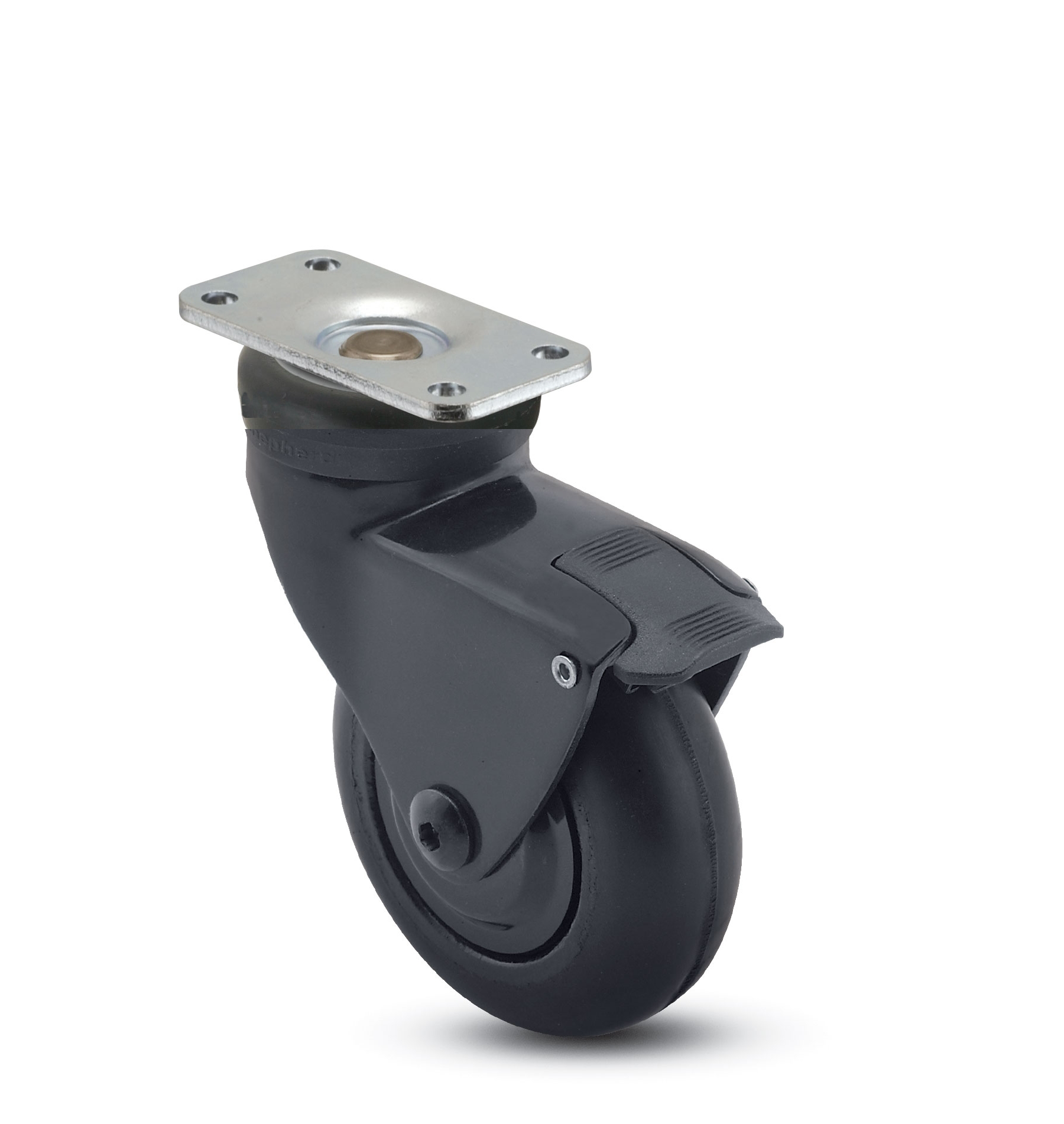 Swivel caster with a soft, non-marking wheel, black finish, top plate connector and brake.