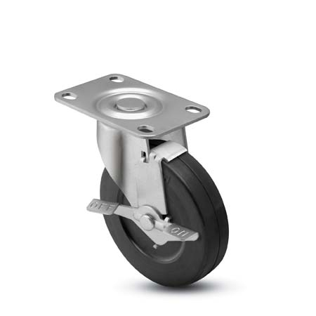 Swivel Caster with a Rubber wheel, Zinc finish, Top Plate connector and a Brake.