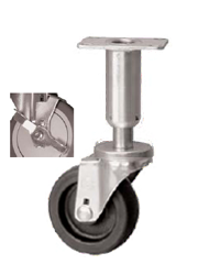 Swivel, leveling, adjustable Caster with a black wheel, Zinc finish, Top Plate connector and wheel b