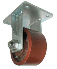 Rigid Caster with red ductile Steel wheel.
