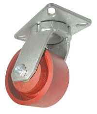 Heavy Duty Swivel Caster with Red Steel wheel, top plate and kingpinless swivel raceway.