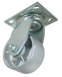 Swivel Caster with a Cast Iron wheel, Zinc finish, and Top Plate connector.