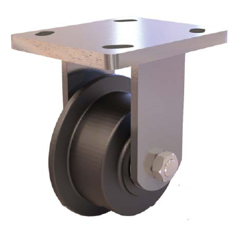 Rigid caster with a single-flanged wheel.