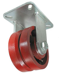 Rigid Caster with a red V-Groove Steel wheel, Zinc finish, and Top Plate connector.
