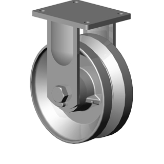 Rigid Caster with a V-Groove (7/8) Ductile Steel wheel, Zinc finish, and Top Plate connector.