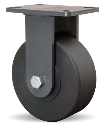 Rigid Caster with a Black Nylon wheel, Zinc finish, and Top Plate connector.