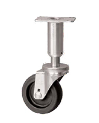 Swivel, leveling, adjustable Caster with a black wheel, Zinc finish, and Top Plate connector.