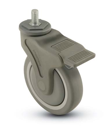 Swivel Caster with a Thermoplastized Rubber (Gray) wheel, Nylon (Gray) finish,  Threaded Stem connec