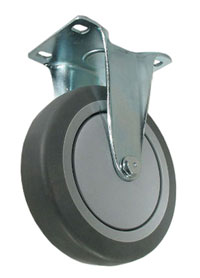 Rigid Caster with a gray Rubber wheel, Zinc finish, Plate connector and thread guards.