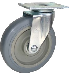 Swivel Caster with a gray Thermoplastic Rubber wheel, Zinc finish, and Top Plate connector.
