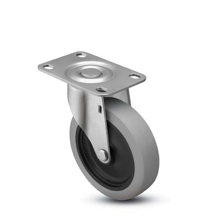 Swivel caster with a gray soft rubber wheel and top plate.