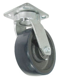 Swivel Caster with a blue PolyUrethane on Cast wheel, Zinc finish, Plate connector and kingpinless r