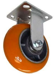 Rigid Caster with a Polyurethane on Aluminum wheel, Zinc finish, and Plate connector.