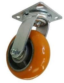 Swivel Caster with a Polyurethane on Aluminum wheel, Zinc finish, and Plate connector.