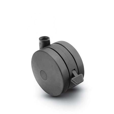 Stemless Swivel Twin-Wheel Caster with a Black finish and Brake.