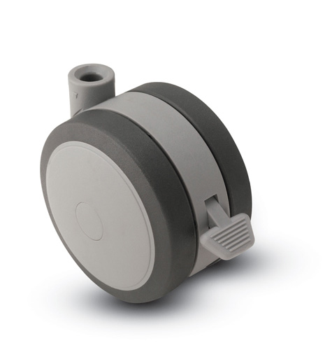 Swivel Twin-Wheel Caster with a Black/Grey finish, Stemless connector and a Brake.