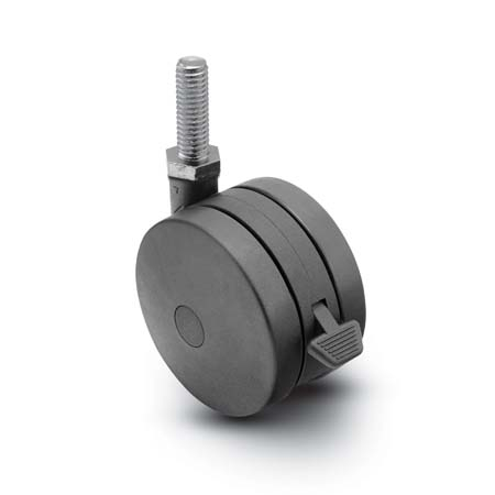 Black twin wheel swivel Caster wth a threaded stem and brake.