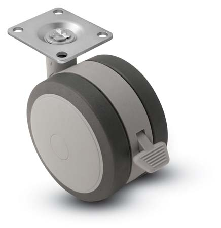Swivel Twin-Wheel Caster with a Black/Grey finish, Top Plate connector and a Brake.