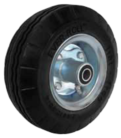 Black Flat Free (foam filled) Wheel with a bolted, centered hub and a ball bearing.