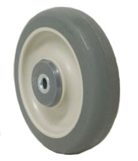 Gray PolyUrethane on PolyO Wheel with a precision ball bearing.