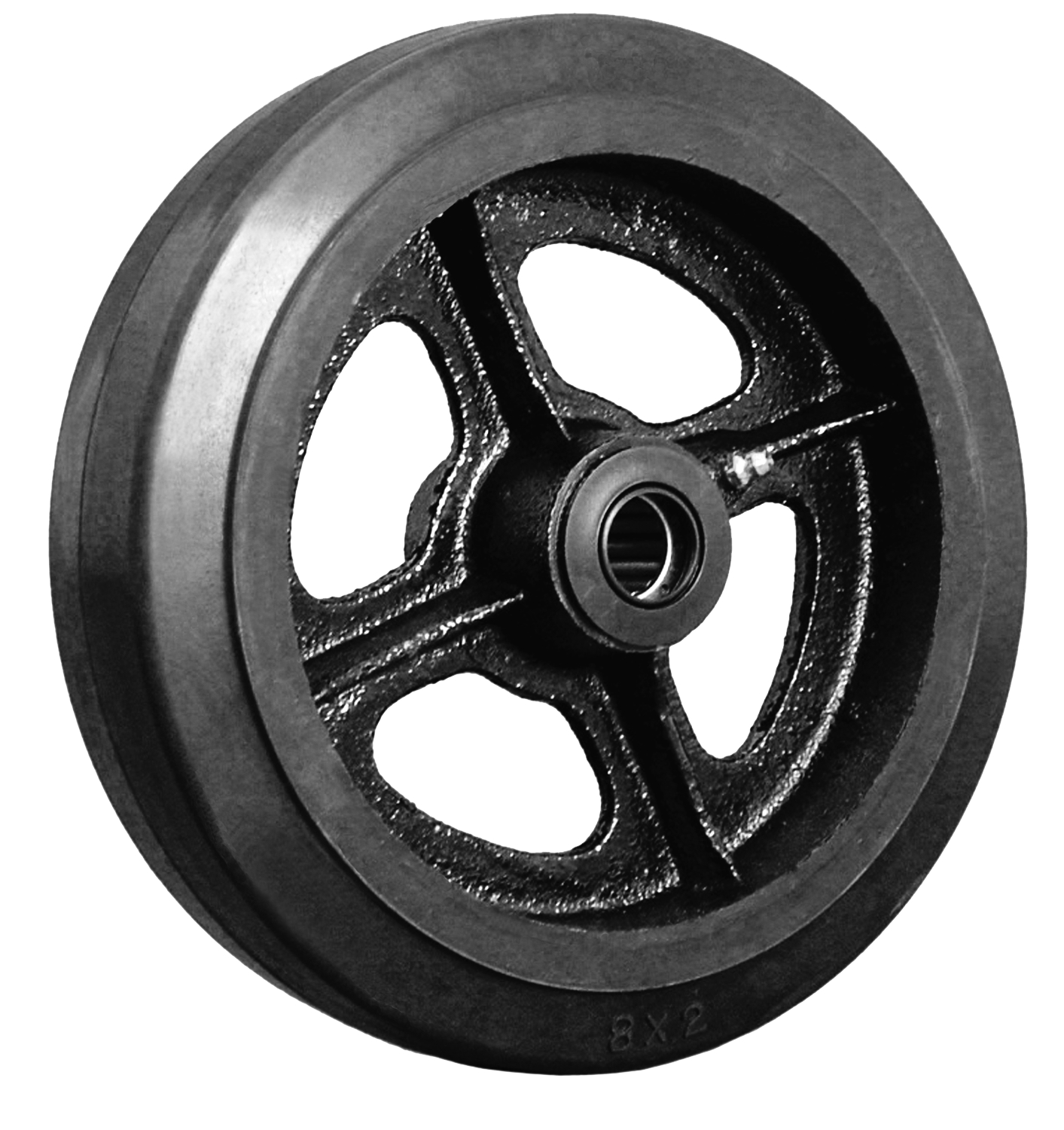 Caster wheel with black rubber on steel hub and a bearing.