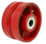Red V-Groove (7/8) Ductile Steel Wheel with a roller bearing