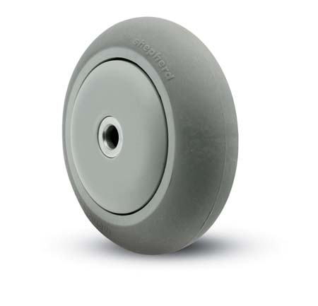Gray donut style Thermoplastic Rubber Wheel with a precision ball bearing