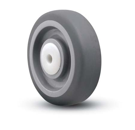 Gray, soft Wheel with a plastic sleeve bearing.