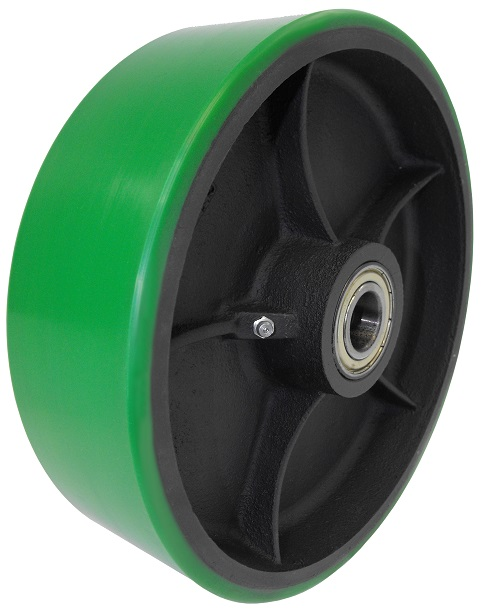 Green polyurethane on cast iron caster wheel.