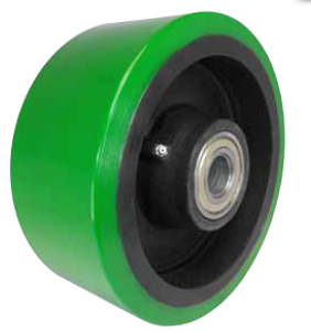 Caster wheel constructed of green, heavy duty polyurethane on steel.